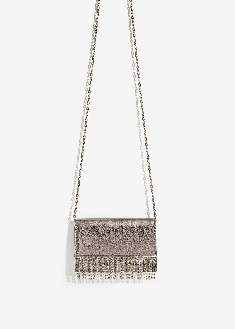 CLUTCH METALLICA ARGENTO SCURO  CON STRASS